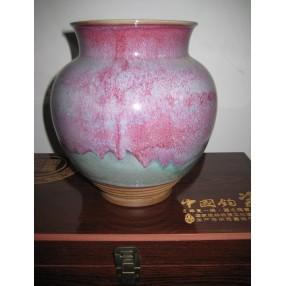 柴烧精品 手拉鱼篓 钧瓷收藏品
