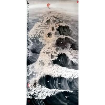 陈渭中国画【海上日出】